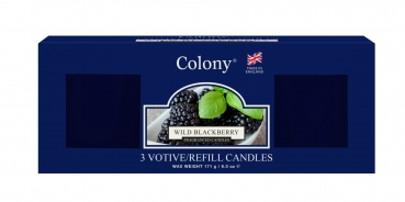 Wax Lyrical - Colony Fragranced 3 Votive Refill Box Wild Blackberry