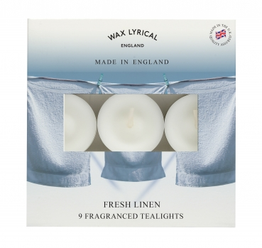 Wax Lyrical - Made in England -  Fragranced Teelights Fresh Linen - 9 Stück