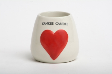 Yankee Candle Painted Hearts Ceramic Samplerhalter/Votivkerzenhalter red